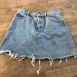 Blue denim mini skirt